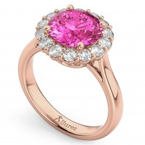 Halo Round Pink Tourmaline & Diamond Engagement Ring 14K Rose Gold 3.20ct