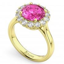 Halo Round Pink Tourmaline & Diamond Engagement Ring 14K Yellow Gold 3.20ct