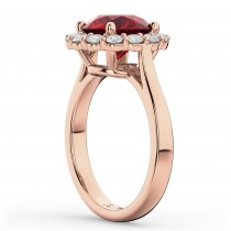 Halo Round Ruby & Diamond Engagement Ring 14K Rose Gold 4.45ct