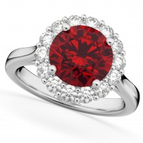 Halo Round Ruby & Diamond Engagement Ring 14K White Gold 4.45ct