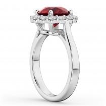 Halo Round Ruby & Diamond Engagement Ring 14K White Gold 4.45ct