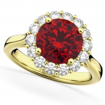 Halo Round Ruby & Diamond Engagement Ring 14K Yellow Gold 4.45ct