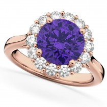 Halo Round Tanzanite & Diamond Engagement Ring 14K Rose Gold 3.10ct