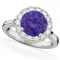 Halo Round Tanzanite & Diamond Engagement Ring 14K White Gold 3.10ct