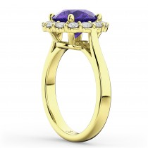Halo Round Tanzanite & Diamond Engagement Ring 14K Yellow Gold 3.10ct