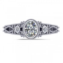 Vintage Style Oval Diamond Engagement Ring 14k White Gold (1.80ct)