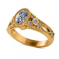 Vintage Style Oval Diamond Engagement Ring 14k Yellow Gold (1.80ct)