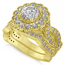 Diamond Flower Halo Engagement Bridal Set 14k Yellow Gold (2.22ct)