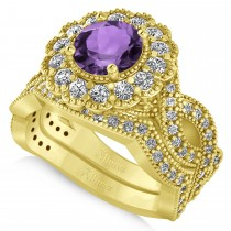 Diamond & Amethyst Flower Halo Bridal Set 14k Yellow Gold (2.22ct)