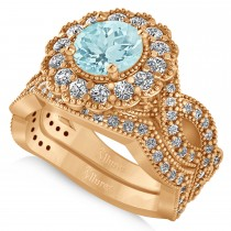 Diamond & Aquamarine Flower Halo Bridal Set 14k Rose Gold (2.22ct)