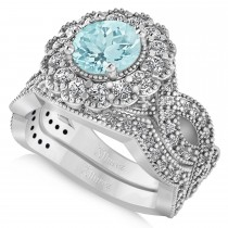 Diamond & Aquamarine Flower Halo Bridal Set 14k White Gold (2.22ct)