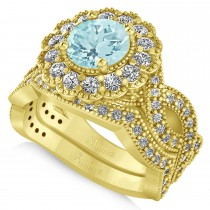 Diamond & Aquamarine Flower Halo Bridal Set 14k Yellow Gold (2.22ct)