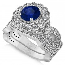 Diamond & Blue Sapphire Flower Halo Bridal Set 14k White Gold (2.22ct)