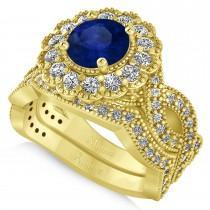 Diamond & Blue Sapphire Flower Halo Bridal Set 14k Yellow Gold (2.22ct)