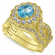 Diamond & Blue Topaz Flower Halo Bridal Set 14k Yellow Gold (2.22ct)
