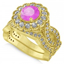Diamond & Pink Sapphire Flower Halo Bridal Set 14k Yellow Gold (2.22ct)