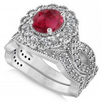 Diamond & Ruby Flower Halo Bridal Set 14k White Gold (2.22ct)