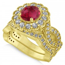 Diamond & Ruby Flower Halo Bridal Set 14k Yellow Gold (2.22ct)