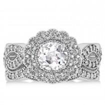 Diamond & White Topaz Flower Halo Bridal Set 14k White Gold (2.22ct)