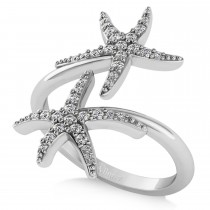 Diamond Double Starfish Fashion Ring 14k White Gold (0.30ct)