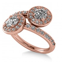 Diamond Halo Two Stone Engagement Ring 14k Rose Gold (1.60ct)