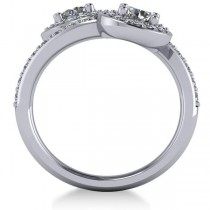 Diamond Halo Two Stone Engagement Ring 14k White Gold (1.60ct)