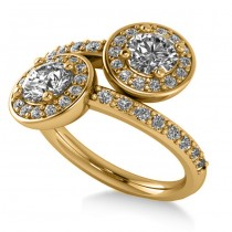 Diamond Halo Two Stone Engagement Ring 14k Yellow Gold (1.60ct)