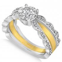 Diamond Split Shank Engagement Ring 14k Two Tone Gold (1.32ct)