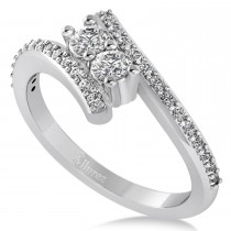 Diamond Two Stone Bypass Ring 14k White Gold (0.50ct)