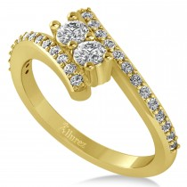 Diamond Two Stone Bypass Ring 14k Yellow Gold (0.50ct)