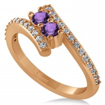 Amethyst Two Stone Ring w/Diamonds 14k Rose Gold (0.50ct)
