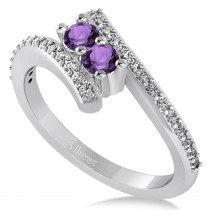 Amethyst Two Stone Ring w/Diamonds 14k White Gold (0.50ct)