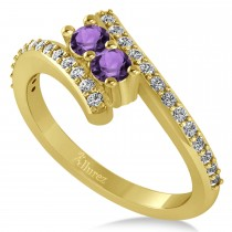 Amethyst Two Stone Ring w/Diamonds 14k Yellow Gold (0.50ct)