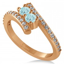 Aquamarine Two Stone Ring w/Diamonds 14k Rose Gold (0.50ct)