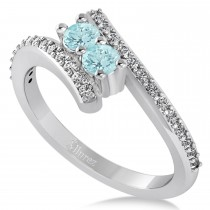 Aquamarine Two Stone Ring w/Diamonds 14k White Gold (0.50ct)