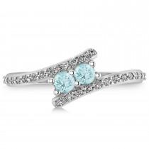 Aquamarine Two Stone Ring w/Diamonds 14k White Gold (0.50ct)|escape