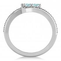 Aquamarine Two Stone Ring w/Diamonds 14k White Gold (0.50ct)