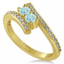 Aquamarine Two Stone Ring w/Diamonds 14k Yellow Gold (0.50ct)