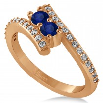 Blue Sapphire Two Stone Ring w/Diamonds 14k Rose Gold (0.50ct)