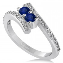 Blue Sapphire Two Stone Ring w/Diamonds 14k White Gold (0.50ct)
