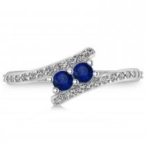 Blue Sapphire Two Stone Ring w/Diamonds 14k White Gold (0.50ct)