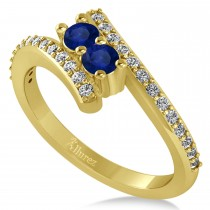 Blue Sapphire Two Stone Ring w/Diamonds 14k Yellow Gold (0.50ct)