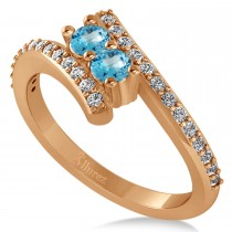 Blue Topaz Two Stone Ring w/Diamonds 14k Rose Gold (0.50ct)