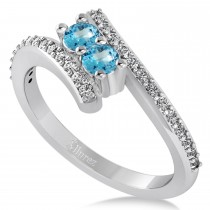 Blue Topaz Two Stone Ring w/Diamonds 14k White Gold (0.50ct)