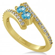 Blue Topaz Two Stone Ring w/Diamonds 14k Yellow Gold (0.50ct)