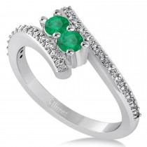 Emerald Two Stone Ring w/Diamonds 14k White Gold (0.50ct)