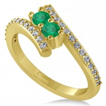 Emerald Two Stone Ring w/Diamonds 14k Yellow Gold (0.50ct)