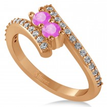Pink Sapphire Two Stone Ring w/Diamonds 14k Rose Gold (0.50ct)