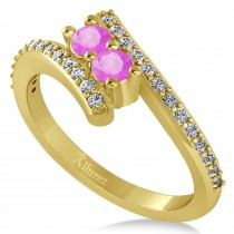 Pink Sapphire Two Stone Ring w/Diamonds 14k Yellow Gold (0.50ct)