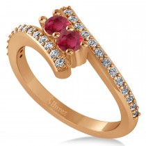 Ruby Two Stone Ring w/Diamonds 14k Rose Gold (0.50ct)